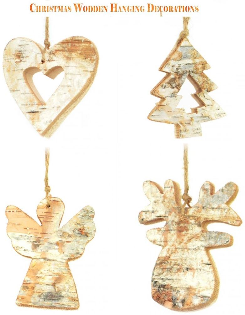 Details About Real Wooden Ornaments Christmas Tree Decorations Hanging Baubles Pendants Home