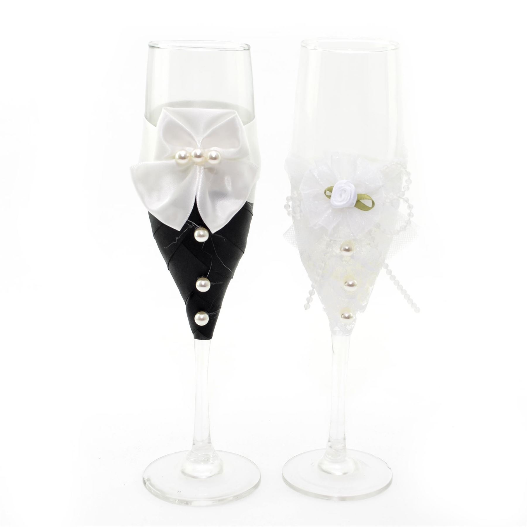 Bride Groom Mr Mrs Champagne Glasses Flutes Pair Toasting