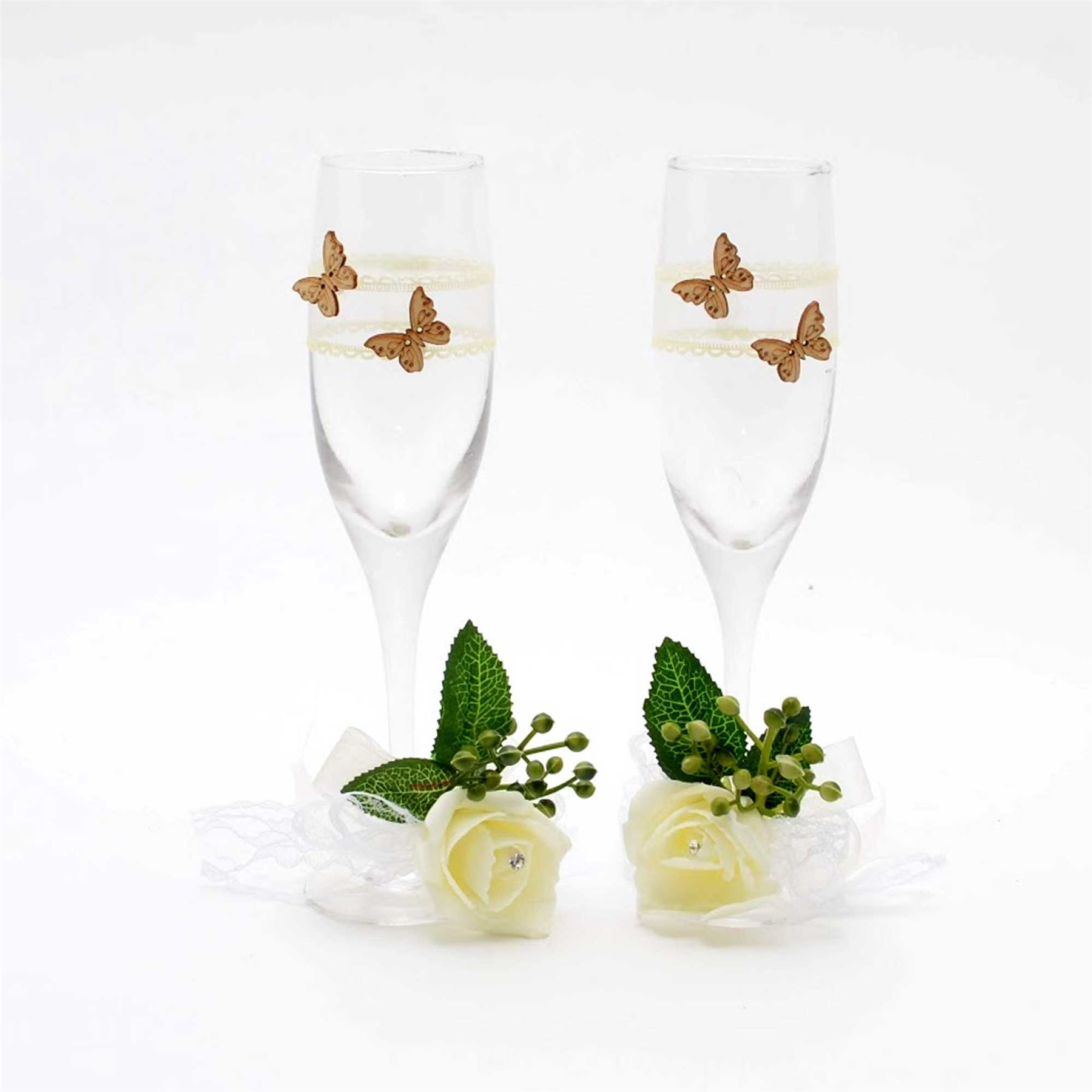 Bride-amp-Groom-Mr-Mrs-Champagne-Glasses-Flutes-Toasting-Wedding-Decorations-Gifts thumbnail 3