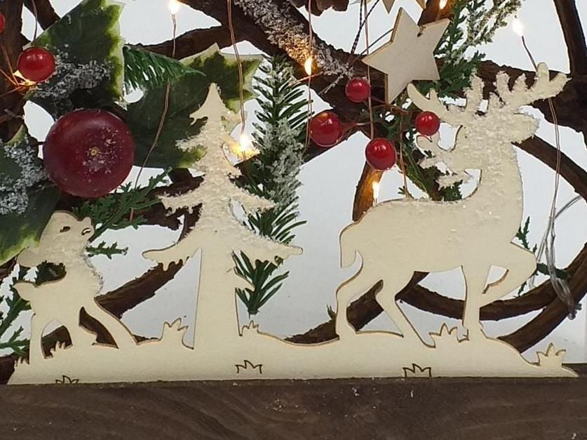 Natural LED 3D Frame PreLit Christmas Xmas Party Wall Hanging Ornament