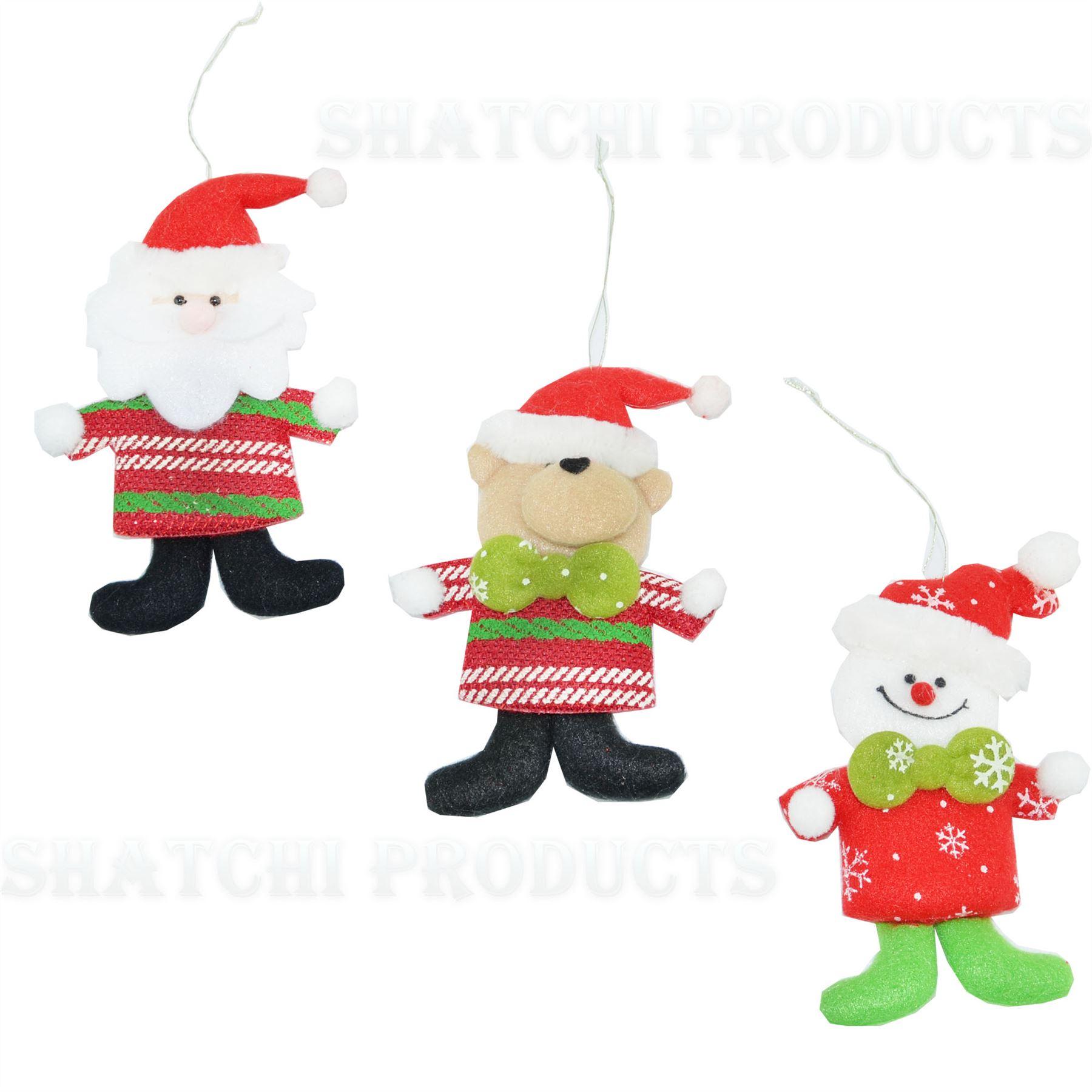 Christmas-Tree-Hanging-Decorations-Glitter-Snowman-Xmas-Beads-Chain-Garland thumbnail 19