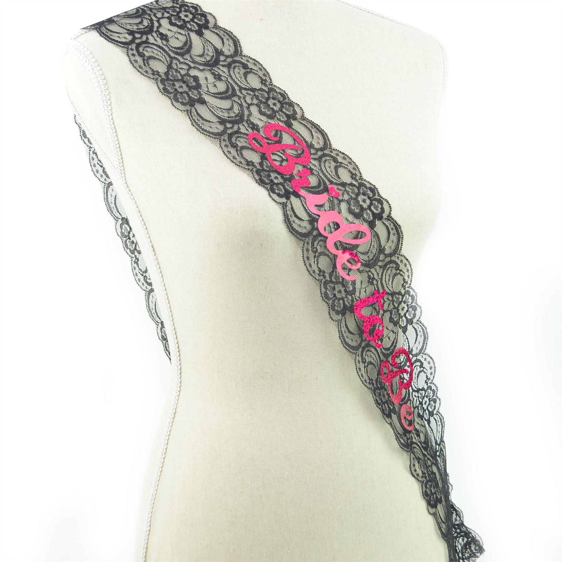 Bride To Be Black Lace Sash Hen Party Do Girls Night Fancy Dress Accessories