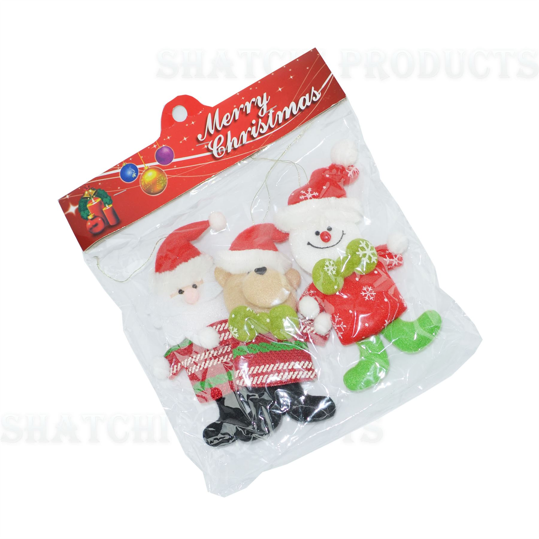 Christmas-Tree-Hanging-Decorations-Glitter-Snowman-Xmas-Beads-Chain-Garland thumbnail 18