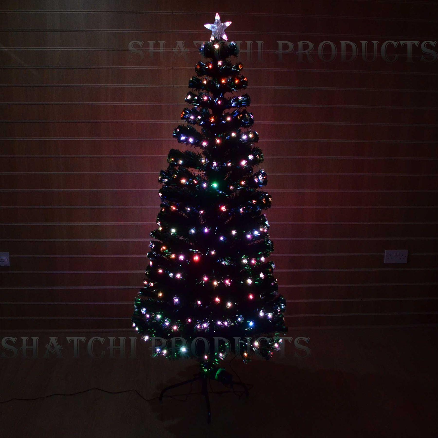 8ft Christmas Tree Pre Lit: Pre Lit Fibre Optic LED Christmas Tree Home Xmas Lights
