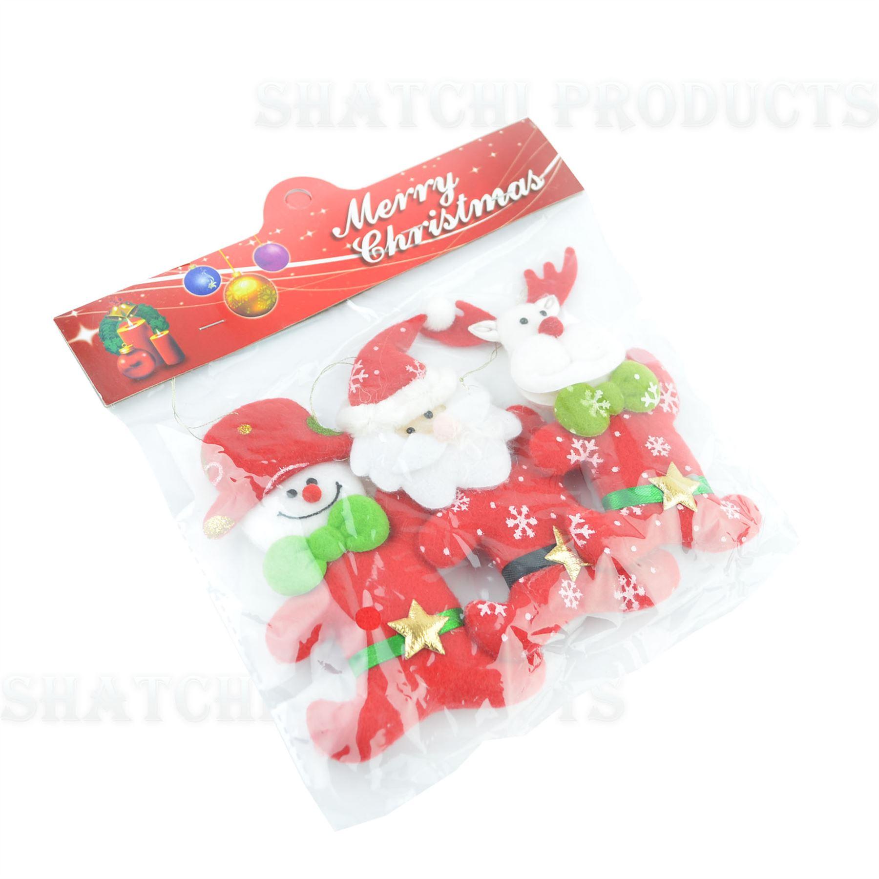 Christmas-Tree-Hanging-Decorations-Glitter-Snowman-Xmas-Beads-Chain-Garland thumbnail 22