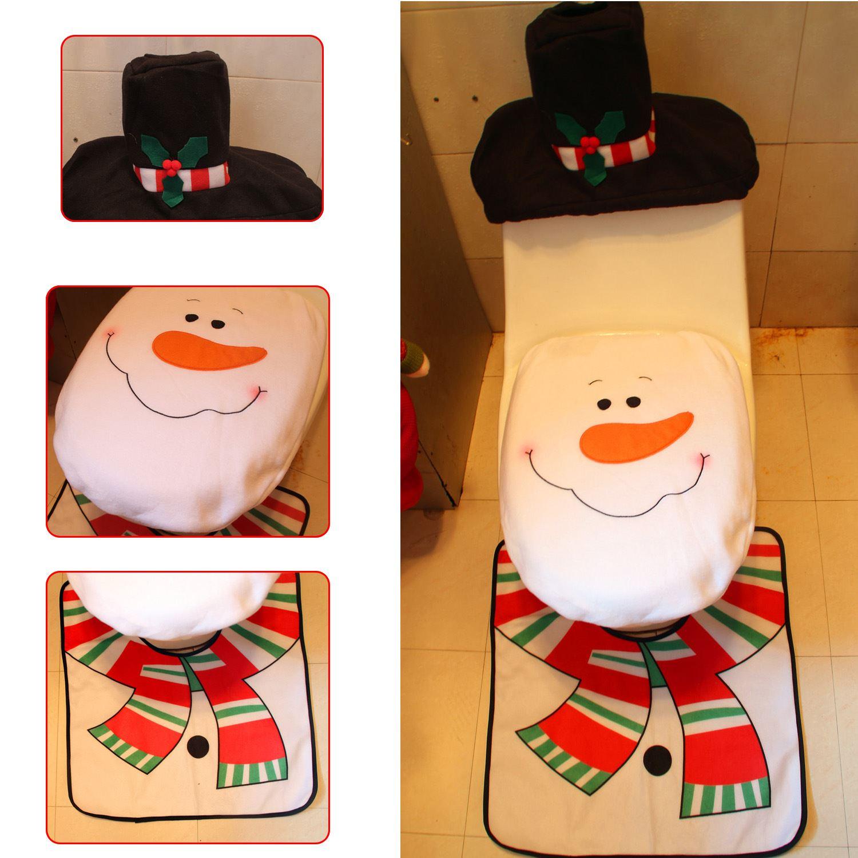 Decorazione-Natalizia-Natale-Casa-Bagno-Toilet-Seat-Cover-Set-Babbo-Natale-Elfo-Pupazzo-di-neve miniatura 14