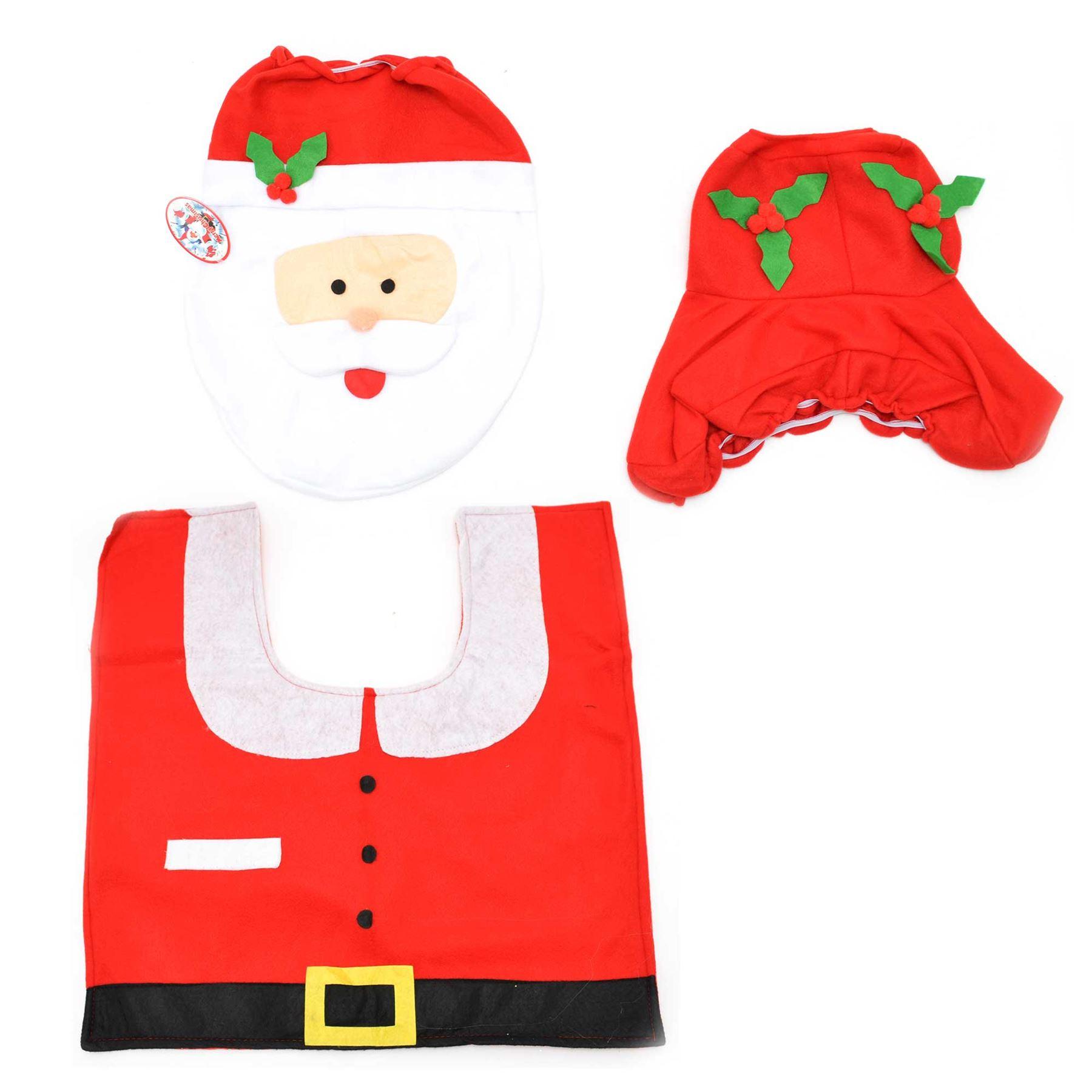 Decorazione-Natalizia-Natale-Casa-Bagno-Toilet-Seat-Cover-Set-Babbo-Natale-Elfo-Pupazzo-di-neve miniatura 10