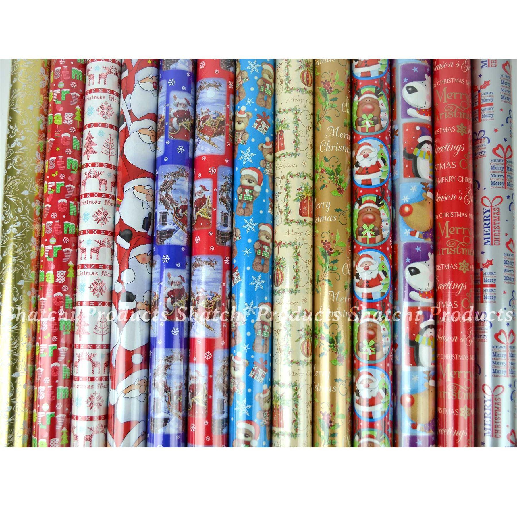 10M-Natale-Regalo-Wrap-Assortiti-ROTOLI-DI-CARTA-DA-PACCO-ROTOLO-REGALO-DI-NATALE miniatura 21