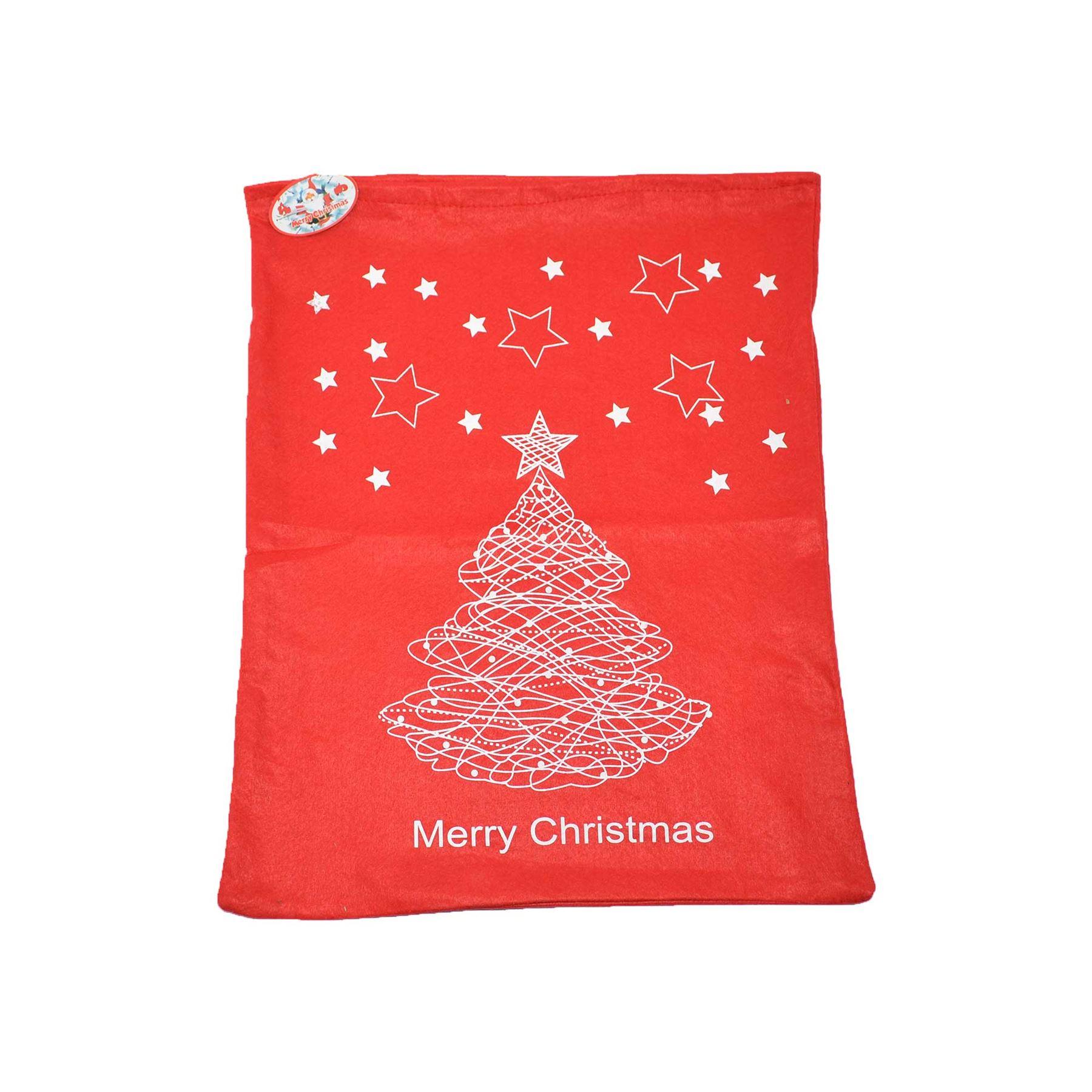 Feltro-Rosso-Buon-Natale-Babbo-Natale-Sacco-Grande-Calza-Natale-Regali-Regalo-Borse miniatura 7
