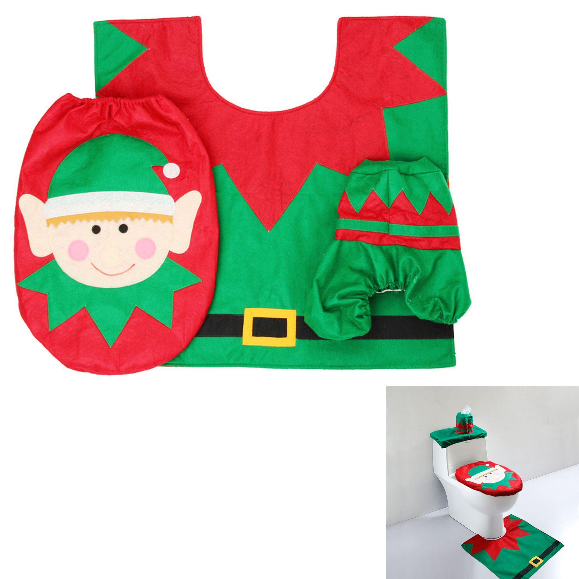 Decorazione-Natalizia-Natale-Casa-Bagno-Toilet-Seat-Cover-Set-Babbo-Natale-Elfo-Pupazzo-di-neve miniatura 4