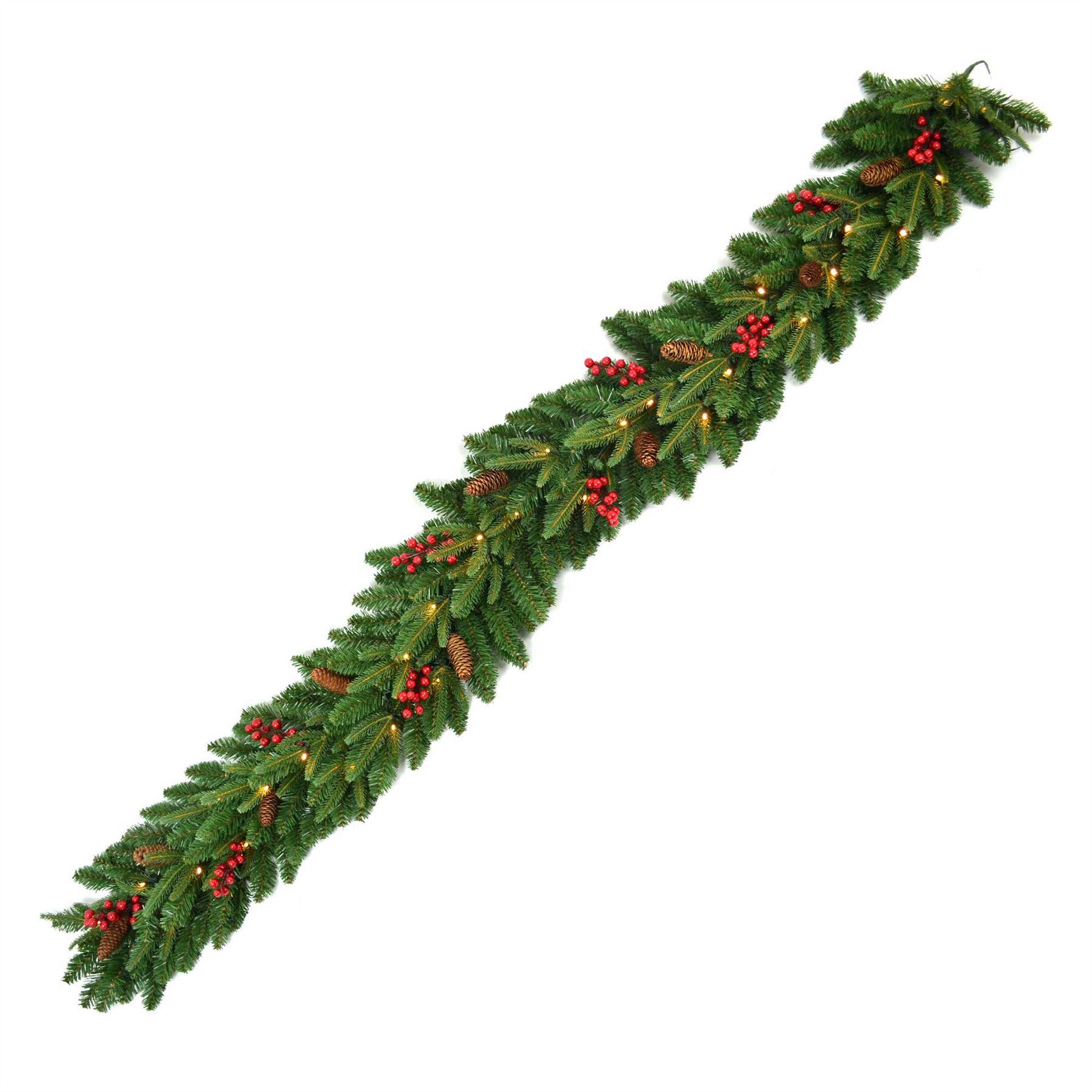 Pre-Illuminato-PRELIT-decorato-Corona-Ghirlanda-Decorazioni-Natalizie-Natale-Home-Decor-UK miniatura 12