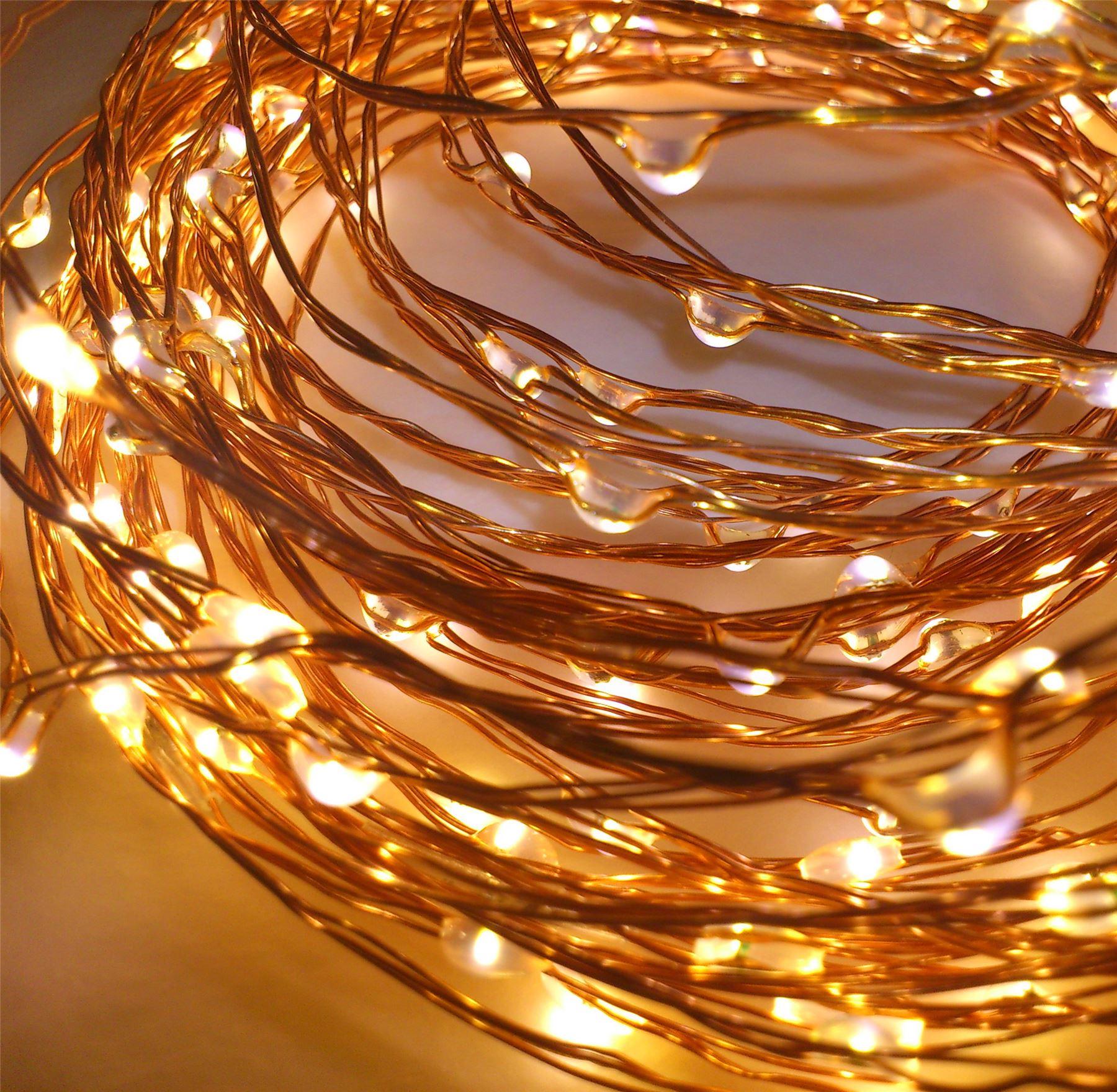 20-40-50-80-100-Batterie-DEL-Fairy-Lights-String-Fete-de-mariage-Decorations-Cuivre miniature 13