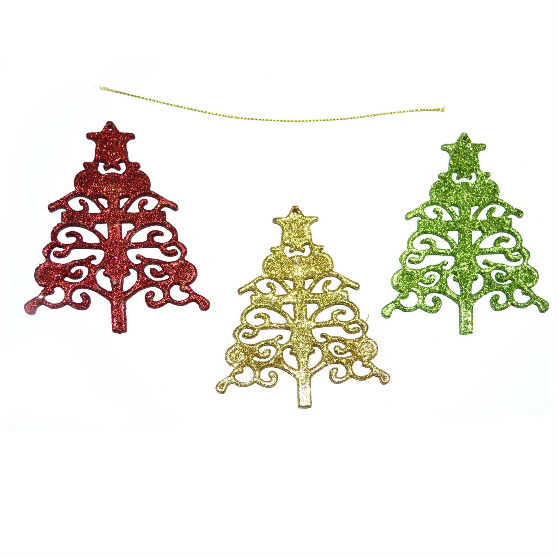 Christmas-Tree-Hanging-Decorations-Glitter-Snowman-Xmas-Beads-Chain-Garland thumbnail 5