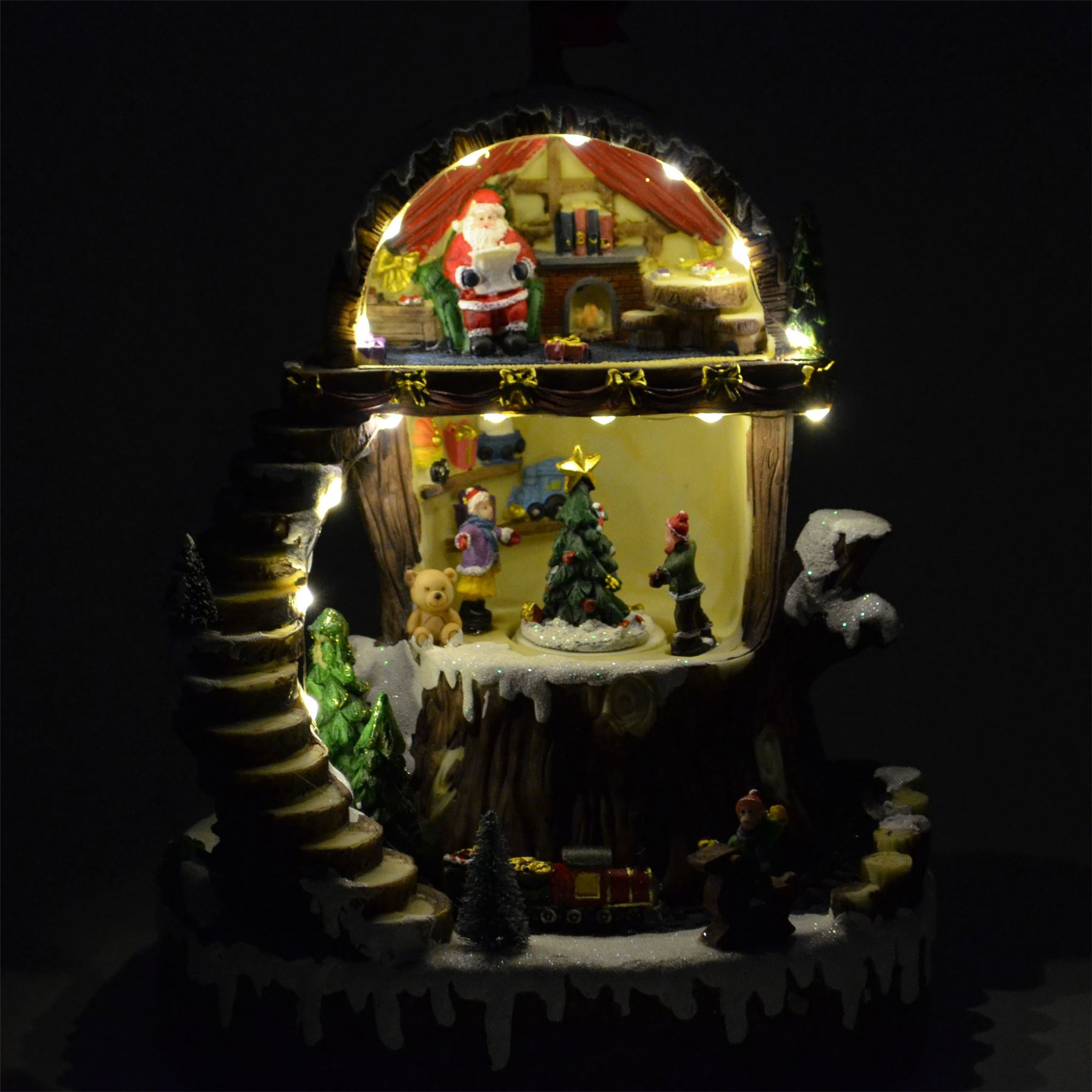 Traditional Musical Lights Christmas Nativity Set Scene Crib Xmas Decorations