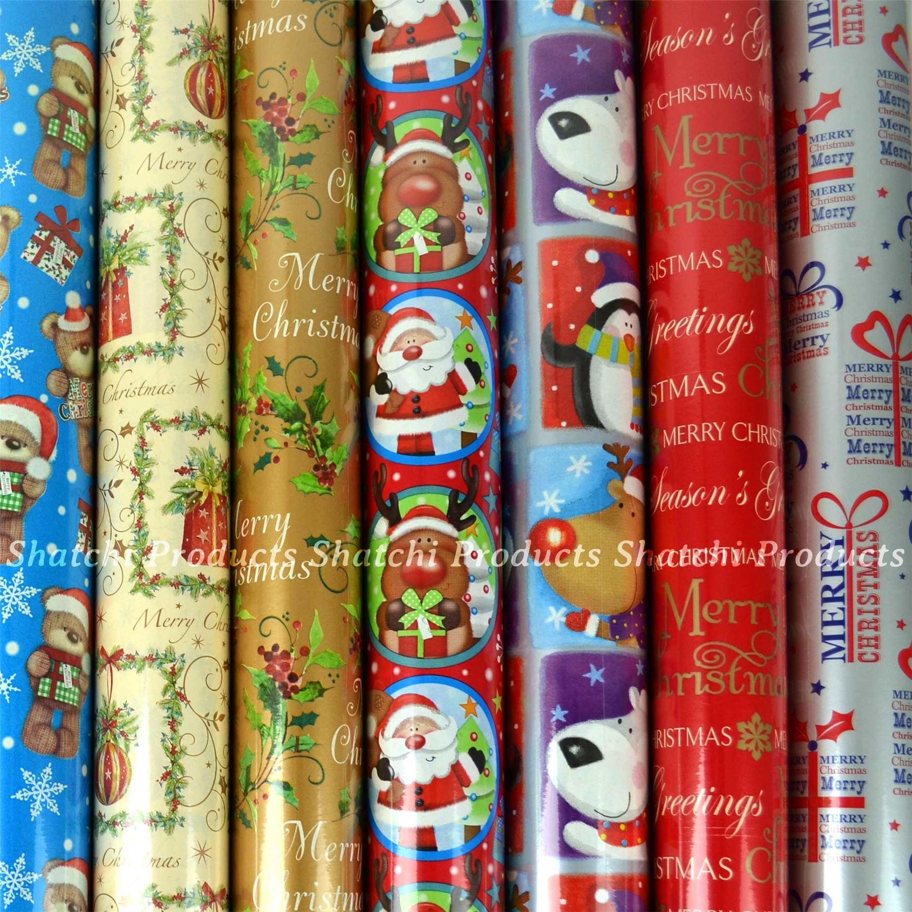 10M-Natale-Regalo-Wrap-Assortiti-ROTOLI-DI-CARTA-DA-PACCO-ROTOLO-REGALO-DI-NATALE miniatura 7
