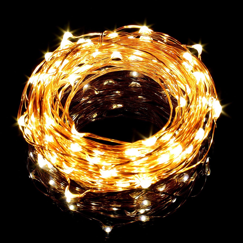 20-40-50-80-100-Batterie-DEL-Fairy-Lights-String-Fete-de-mariage-Decorations-Cuivre miniature 11