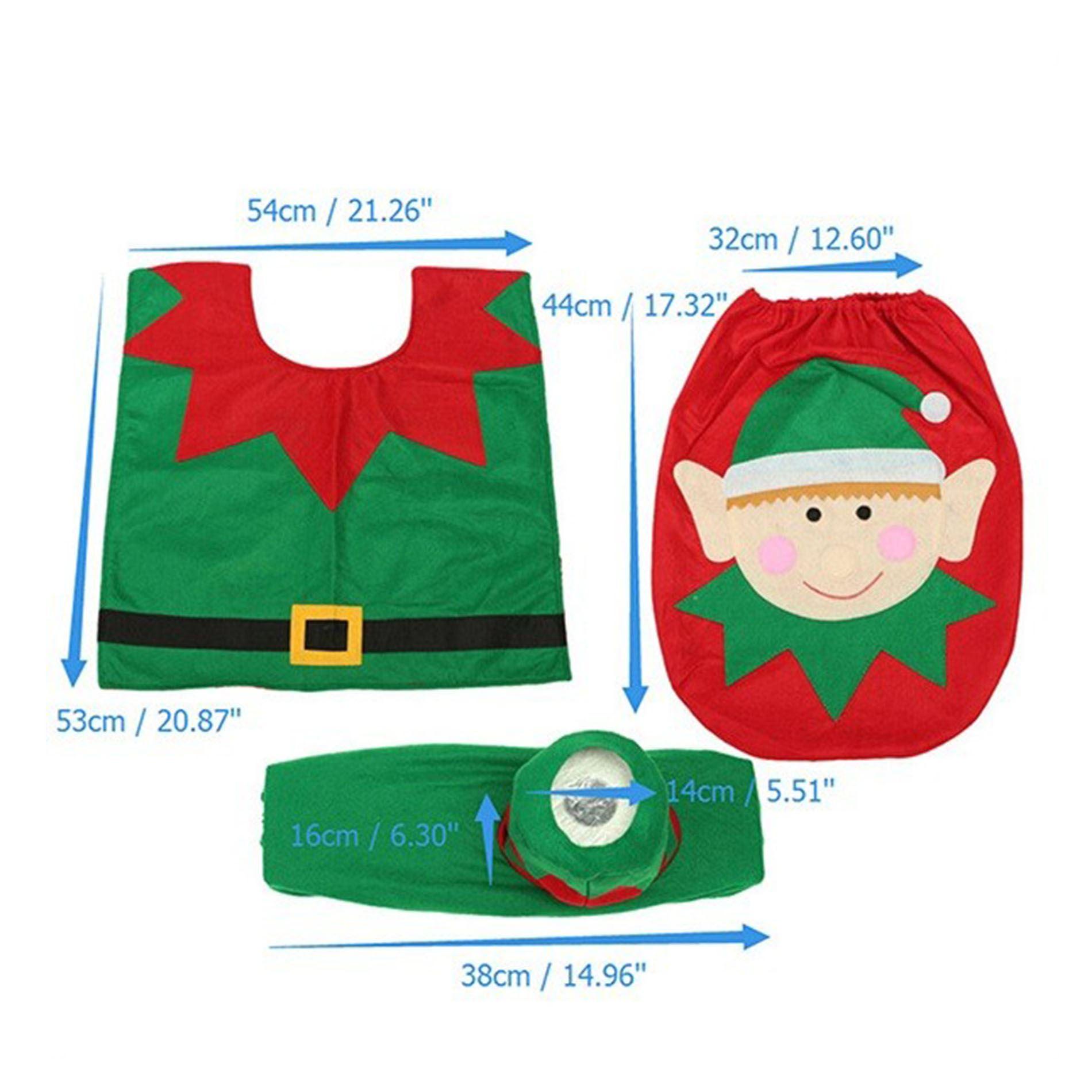 Decorazione-Natalizia-Natale-Casa-Bagno-Toilet-Seat-Cover-Set-Babbo-Natale-Elfo-Pupazzo-di-neve miniatura 5