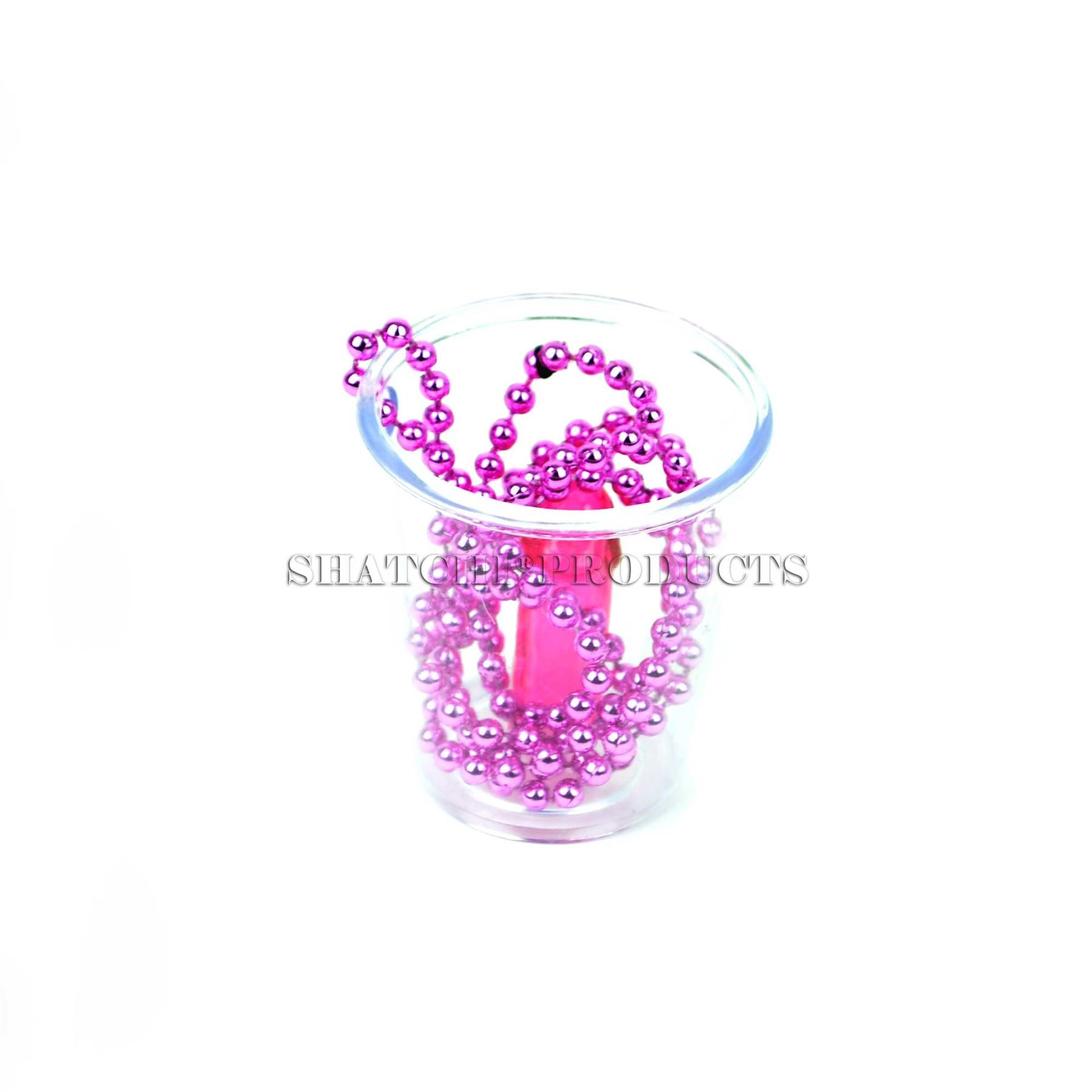 84cm Pink Shot Glass Hen Party With Necklace Fancy Dress Night Fun Accessories