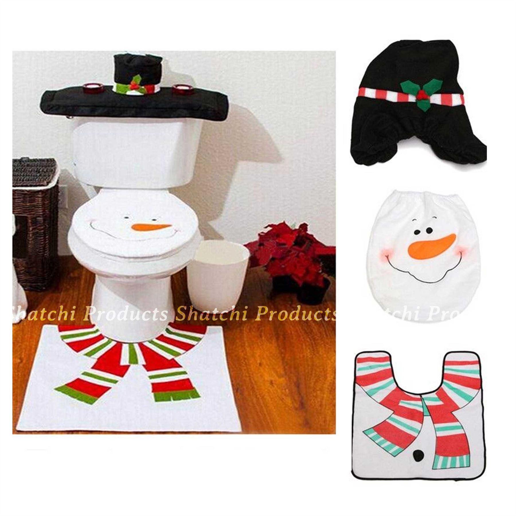 Decorazione-Natalizia-Natale-Casa-Bagno-Toilet-Seat-Cover-Set-Babbo-Natale-Elfo-Pupazzo-di-neve miniatura 15
