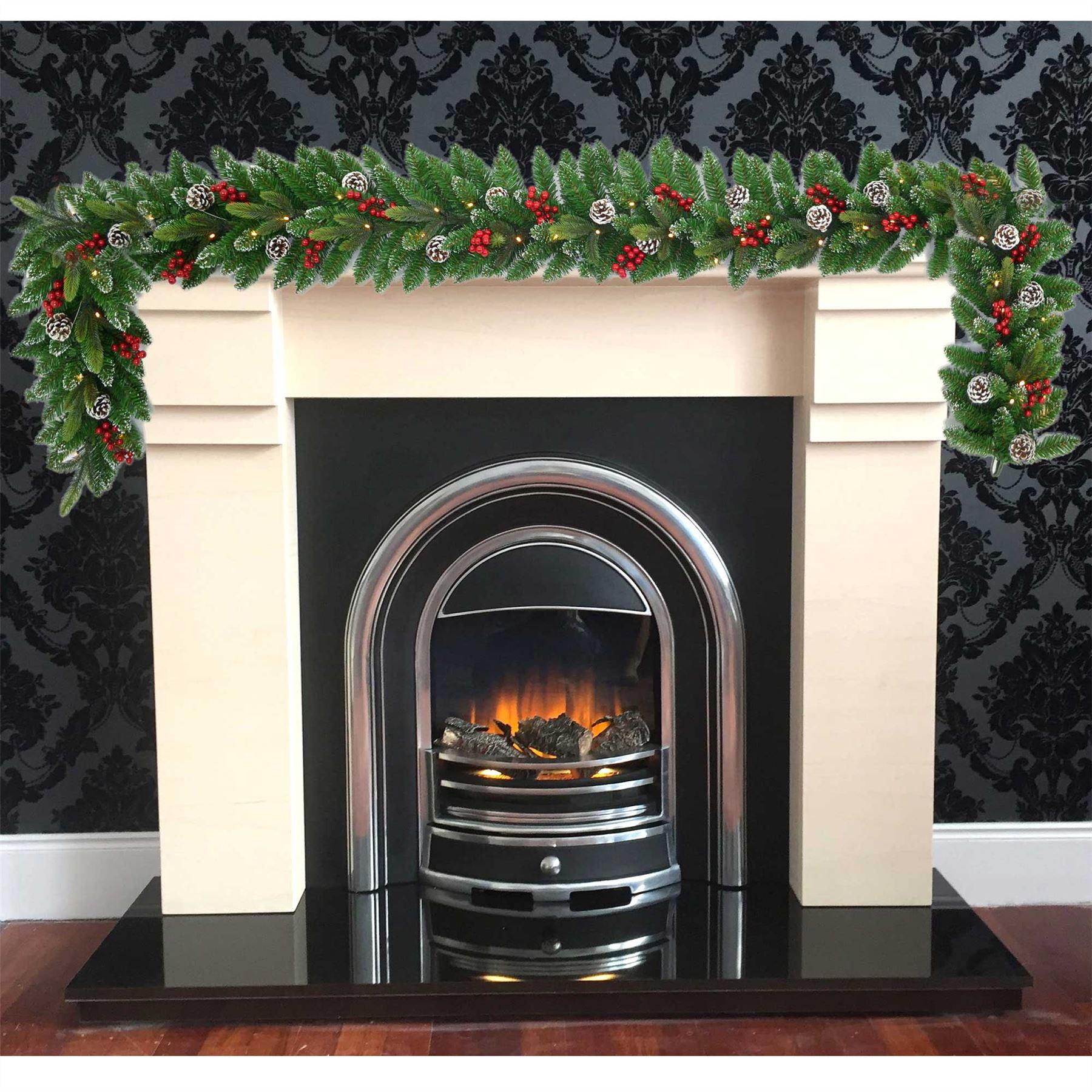 Pre-Illuminato-PRELIT-decorato-Corona-Ghirlanda-Decorazioni-Natalizie-Natale-Home-Decor-UK miniatura 5
