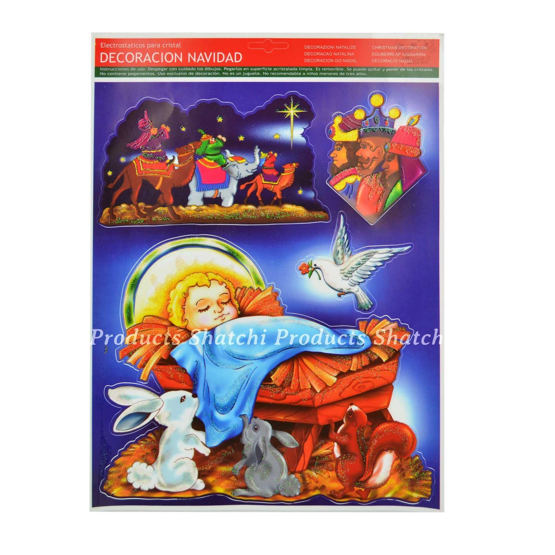 Christmas-Window-Stickers-Snowflakes-Decorations-Xmas-Home-Decor-Religious-Santa thumbnail 9