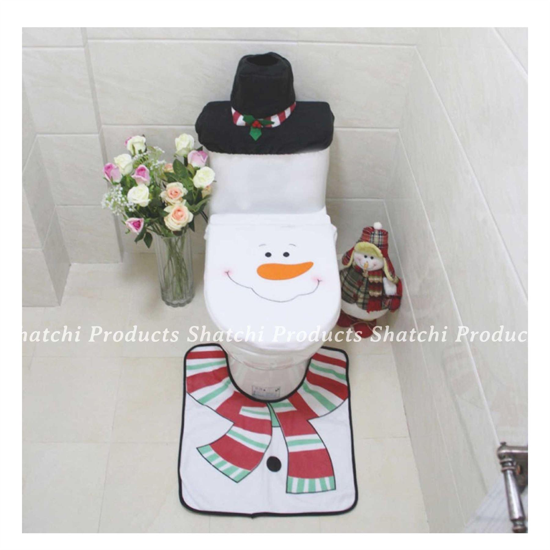 Decorazione-Natalizia-Natale-Casa-Bagno-Toilet-Seat-Cover-Set-Babbo-Natale-Elfo-Pupazzo-di-neve miniatura 13