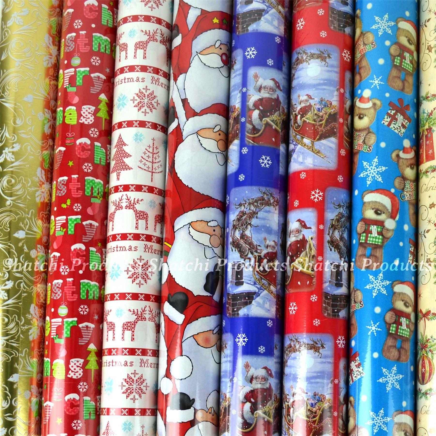 10M-Natale-Regalo-Wrap-Assortiti-ROTOLI-DI-CARTA-DA-PACCO-ROTOLO-REGALO-DI-NATALE miniatura 32