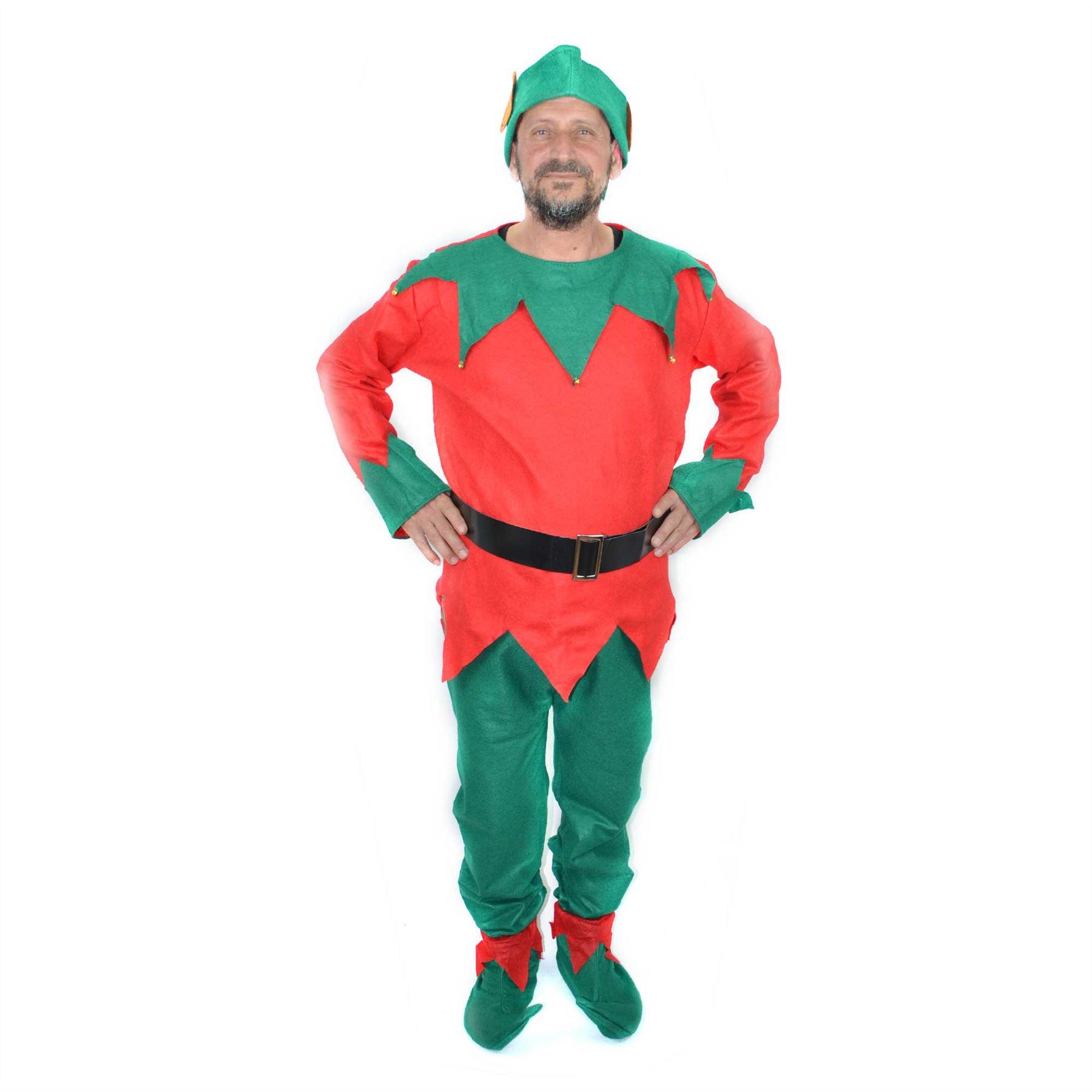 Adult Elf Costume Hat Shoes Christmas Fancy Dress Santas Helper Xmas Accessories