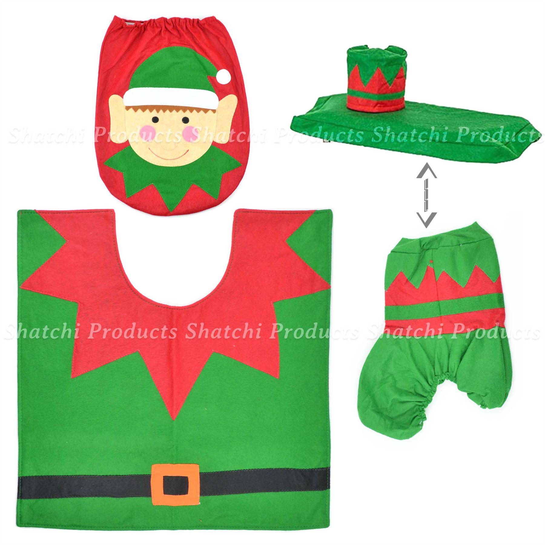 Decorazione-Natalizia-Natale-Casa-Bagno-Toilet-Seat-Cover-Set-Babbo-Natale-Elfo-Pupazzo-di-neve miniatura 3