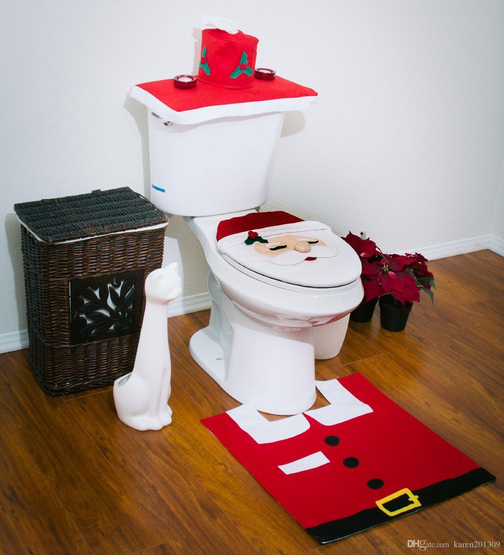 Decorazione-Natalizia-Natale-Casa-Bagno-Toilet-Seat-Cover-Set-Babbo-Natale-Elfo-Pupazzo-di-neve miniatura 11