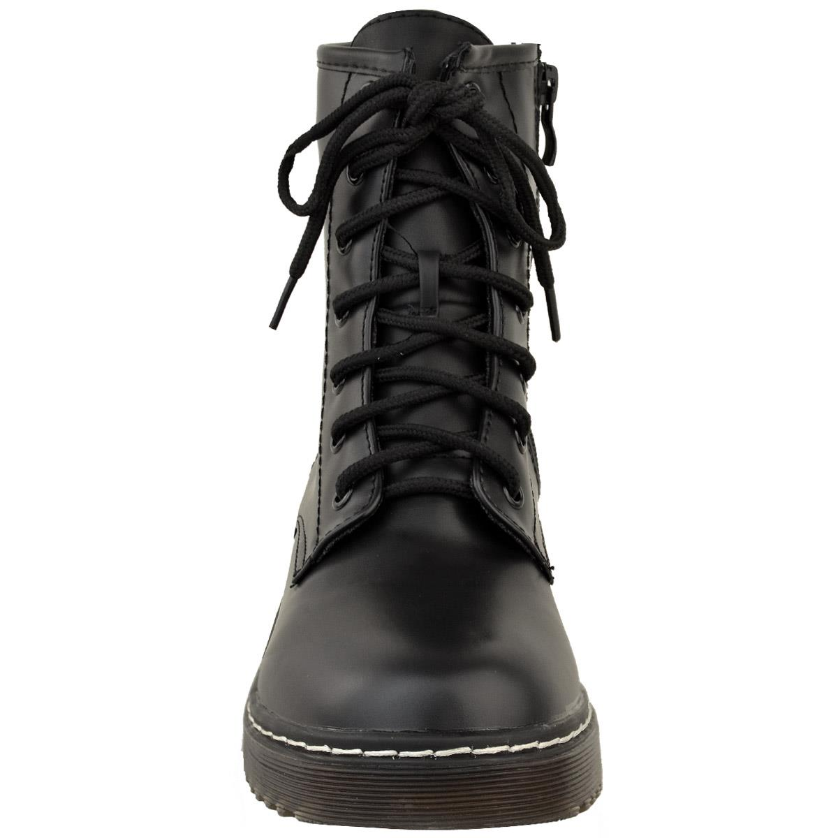Womens-Ladies-Doc-Ankle-Boots-Low-Flat-Heel-Lace-Up-Worker-Army-Black-Goth-Size miniatuur 5