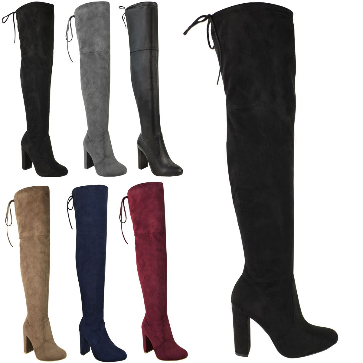 Womens Ladies Thigh High Boots Over The Knee Party Stretch Low Heel Shoes