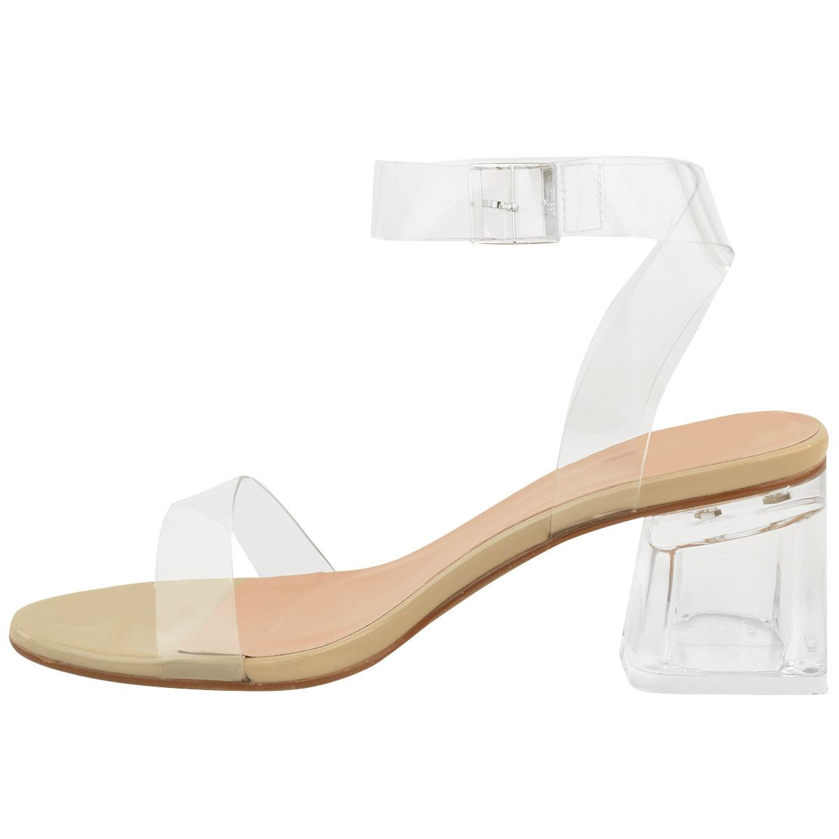 Womens Low Block Heel Glass Perspex Party Sandals Ladies Nude Barely There Size