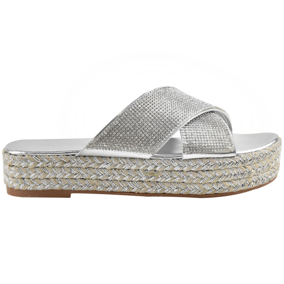 Womens-Diamante-Slip-On-Sandals-Flatforms-Sparkly-Platform-Summer-Size-UK thumbnail 14