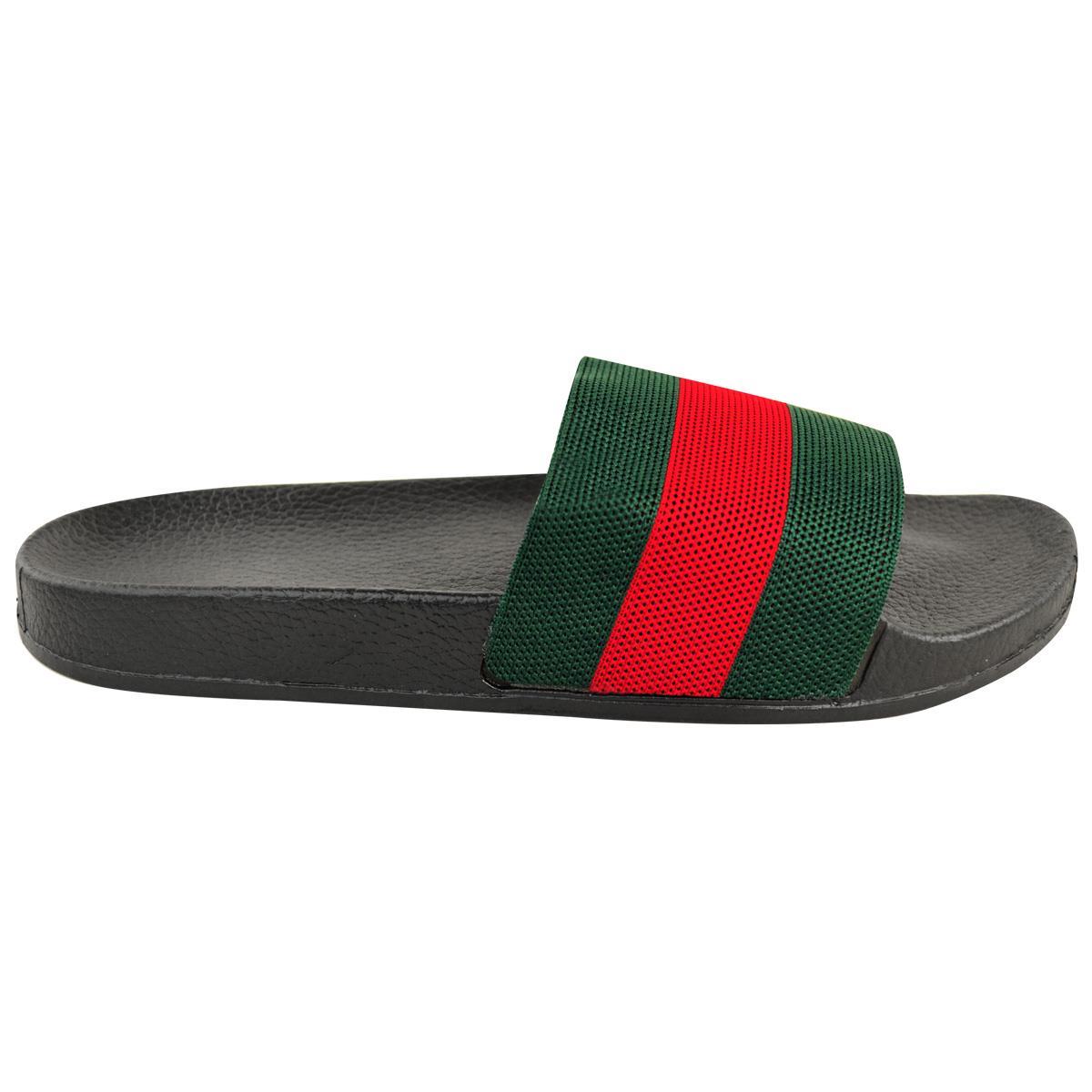Mens-Guys-Flat-Rubber-Slides-Sliders-Stripe-Sandals-Pool-Beach-Designer-New-Size thumbnail 8