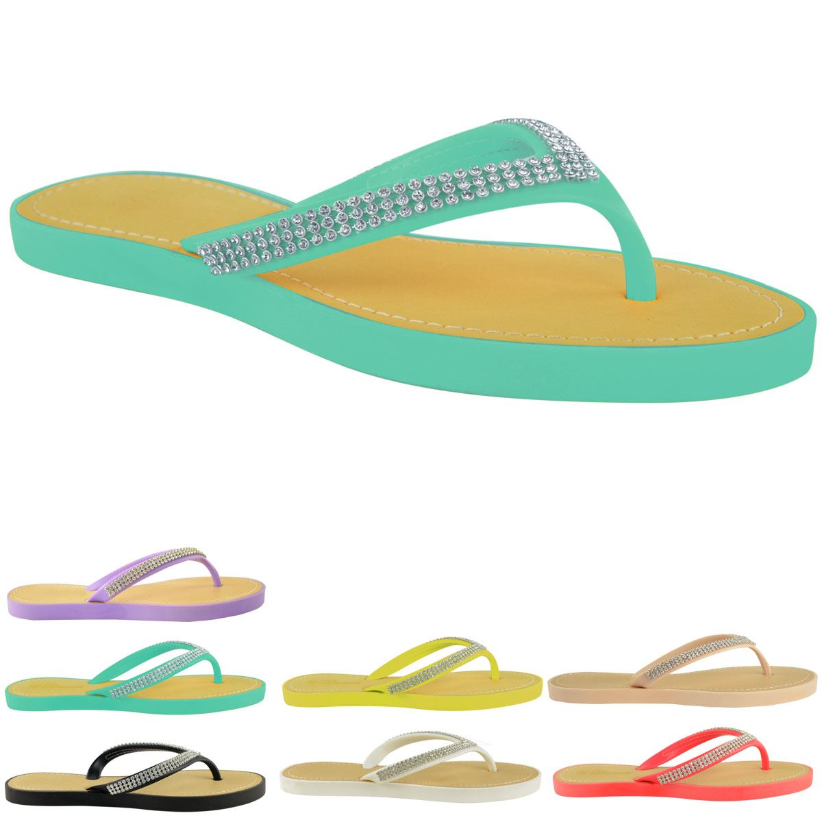 New Jelly Sandals Womens Ladies Diamante Summer Holiday -7431