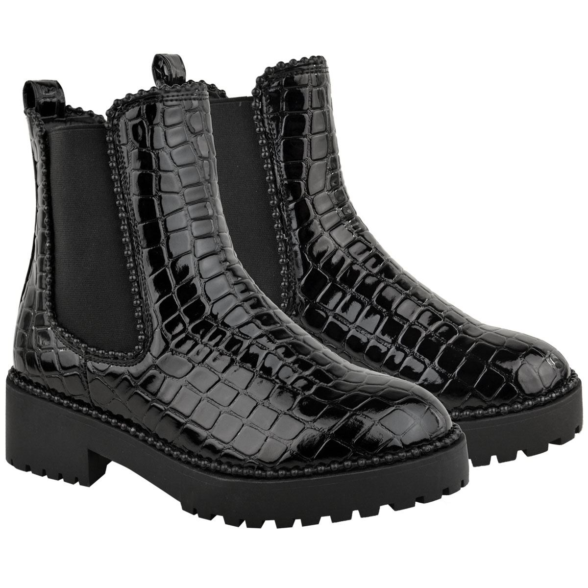 thumbnail 6 - Womens Ankle Chelsea Boots Beaded Studded Elastic Stretch Winter Shoes Size New