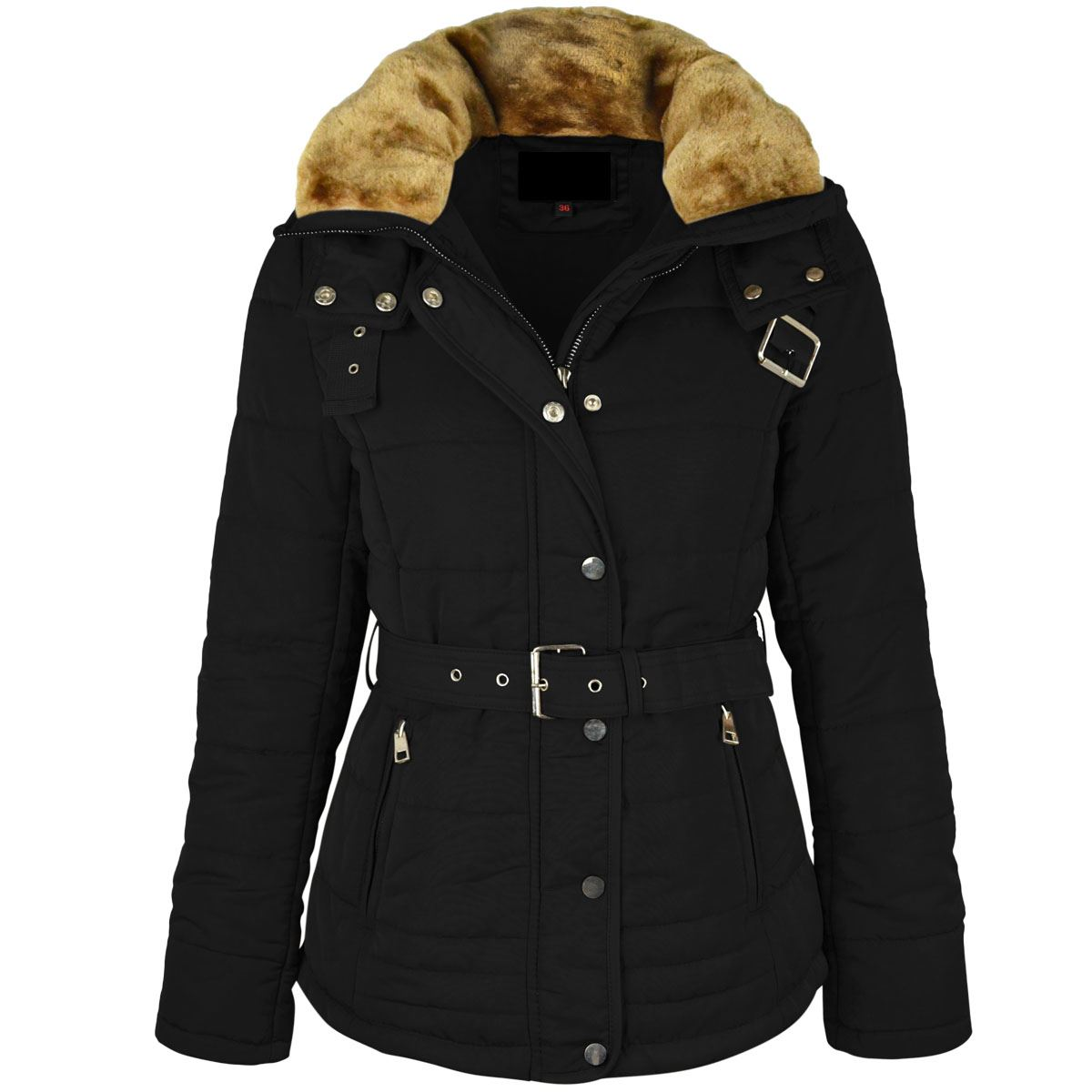 Womens Ladies Winter Coat Puffer Faux Fur Hooded Belted ...