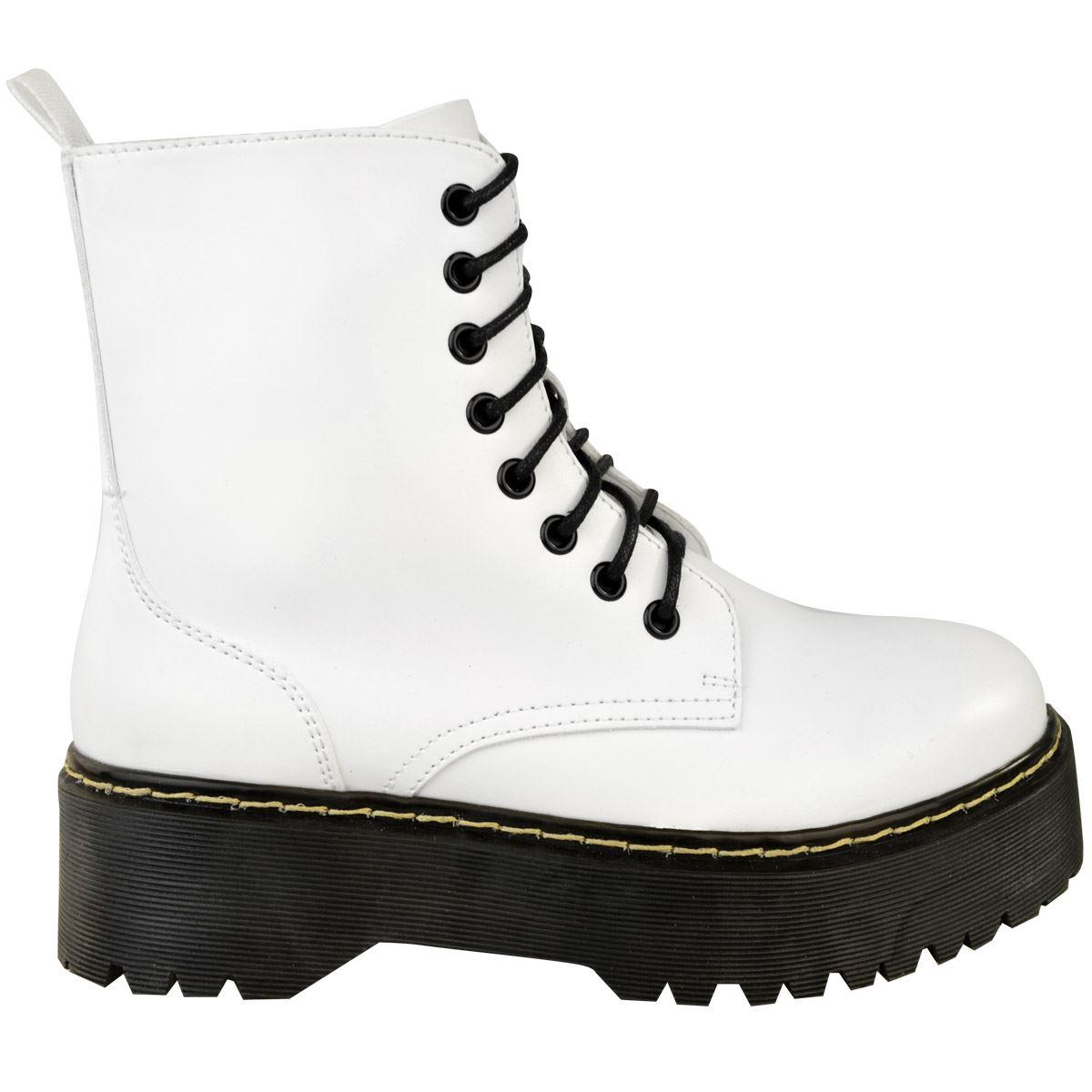 Womens-Ladies-Chunky-Lace-Up-Ankle-Boots-Platform-Icon-Retro-Goth-Punk-Black miniatuur 19