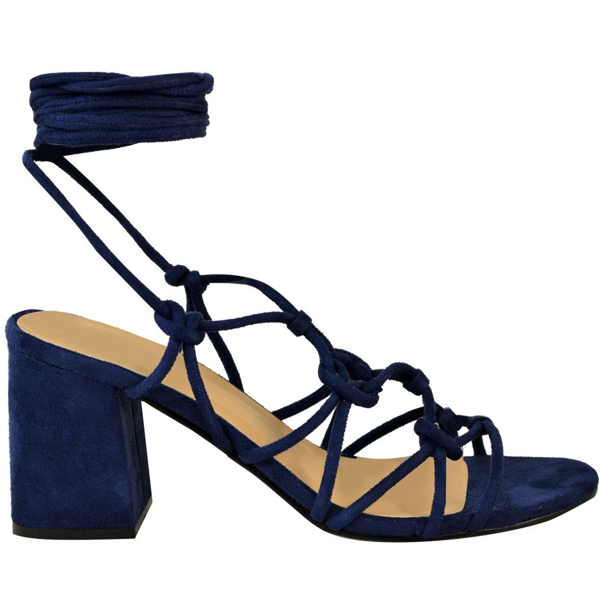 2926ebb45 Womens Ladies Mid Low Block Heel Summer Strappy Sandals Ankle Lace ...