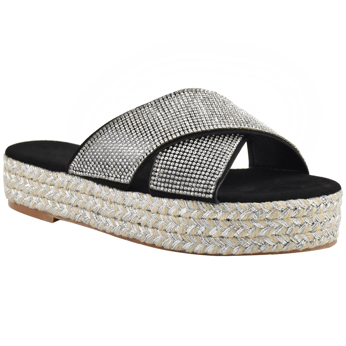 Womens-Diamante-Slip-On-Sandals-Flatforms-Sparkly-Platform-Summer-Size-UK thumbnail 3