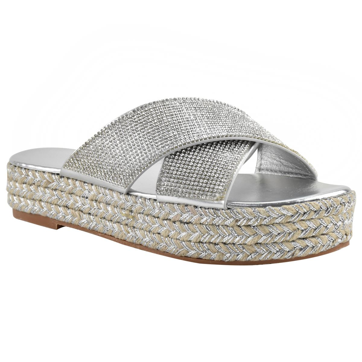 Womens-Diamante-Slip-On-Sandals-Flatforms-Sparkly-Platform-Summer-Size-UK thumbnail 13