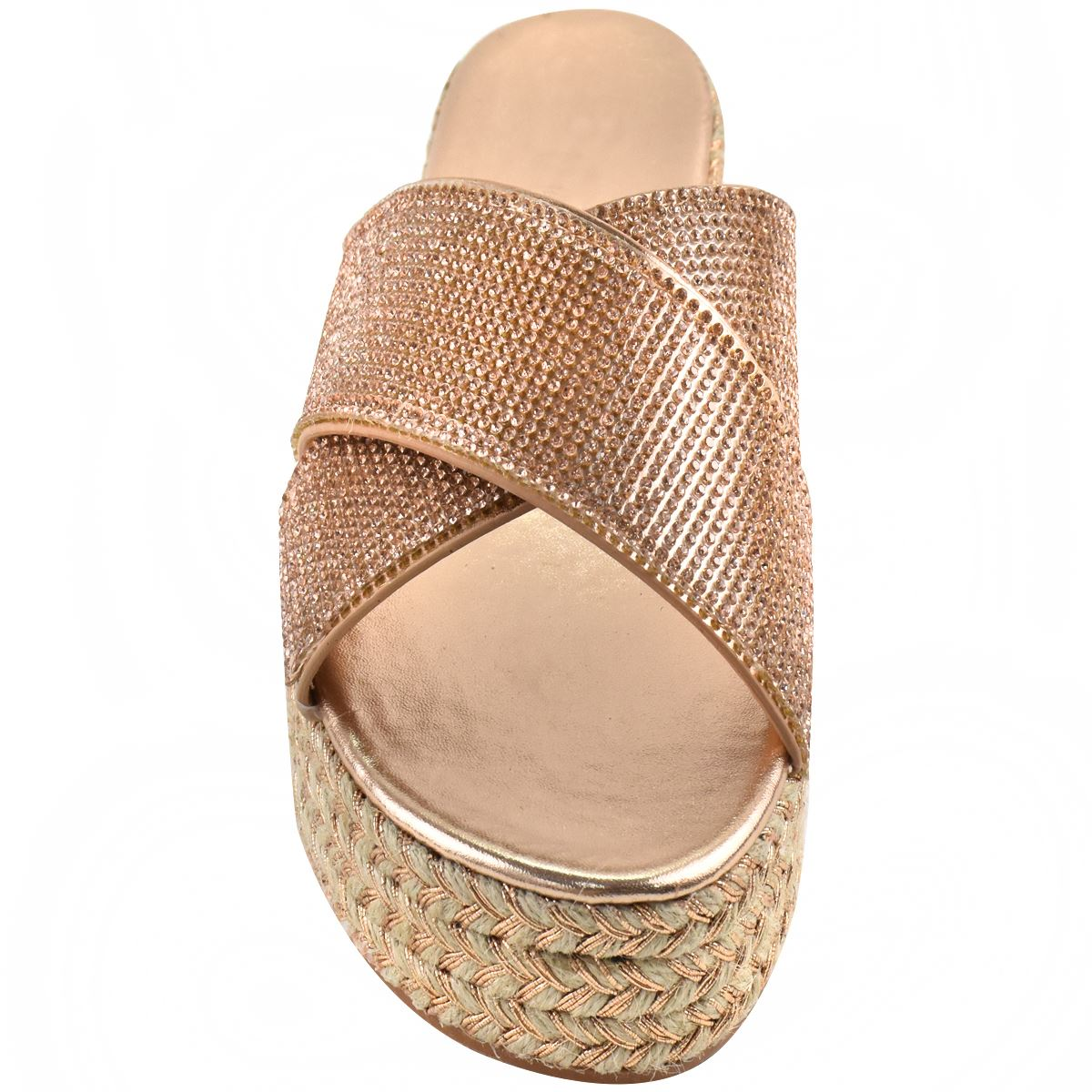 Womens-Diamante-Slip-On-Sandals-Flatforms-Sparkly-Platform-Summer-Size-UK thumbnail 11