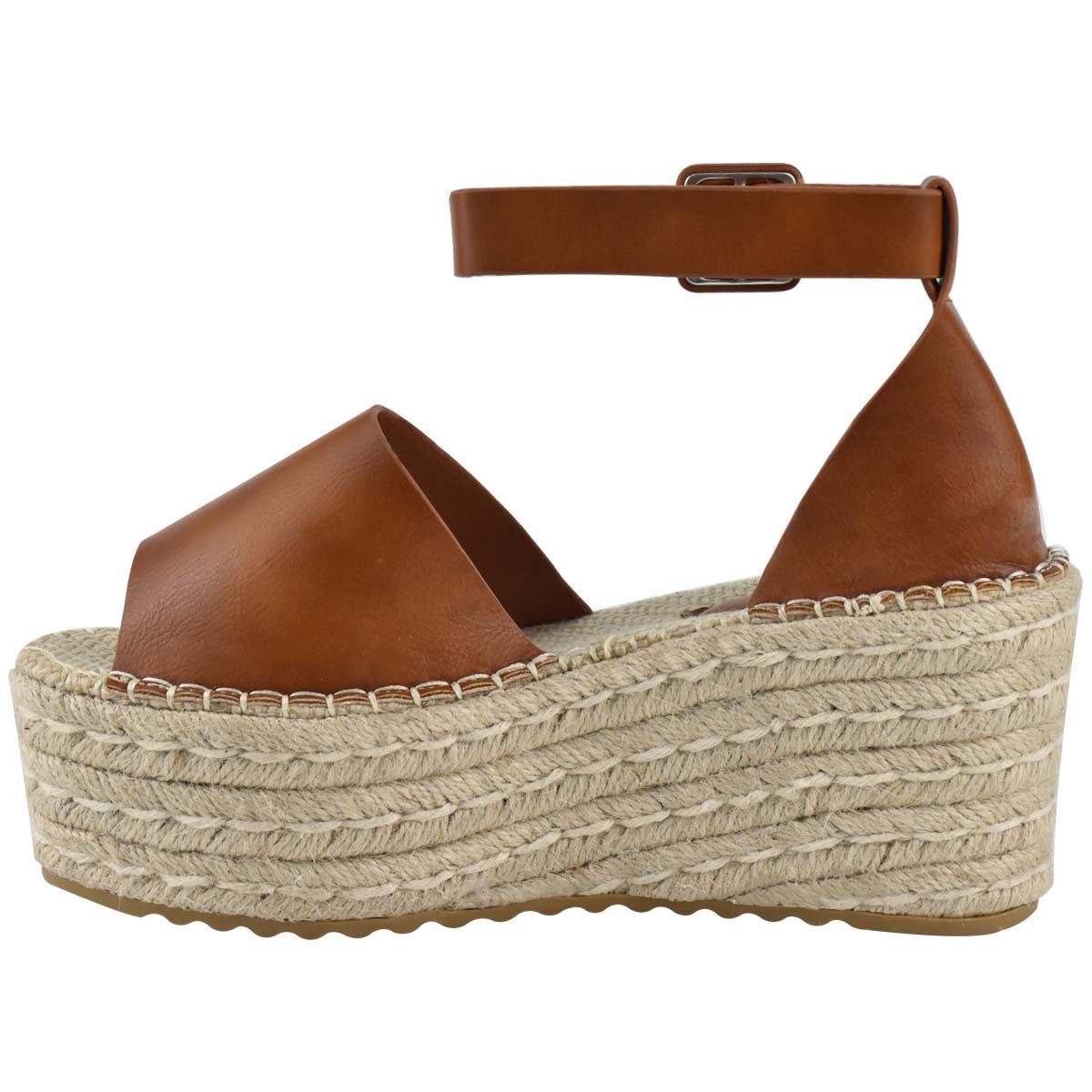 Womens-Flatform-Platform-High-Wedge-Black-Tan-Faux-Leather-Summer-Sandals-Size thumbnail 10