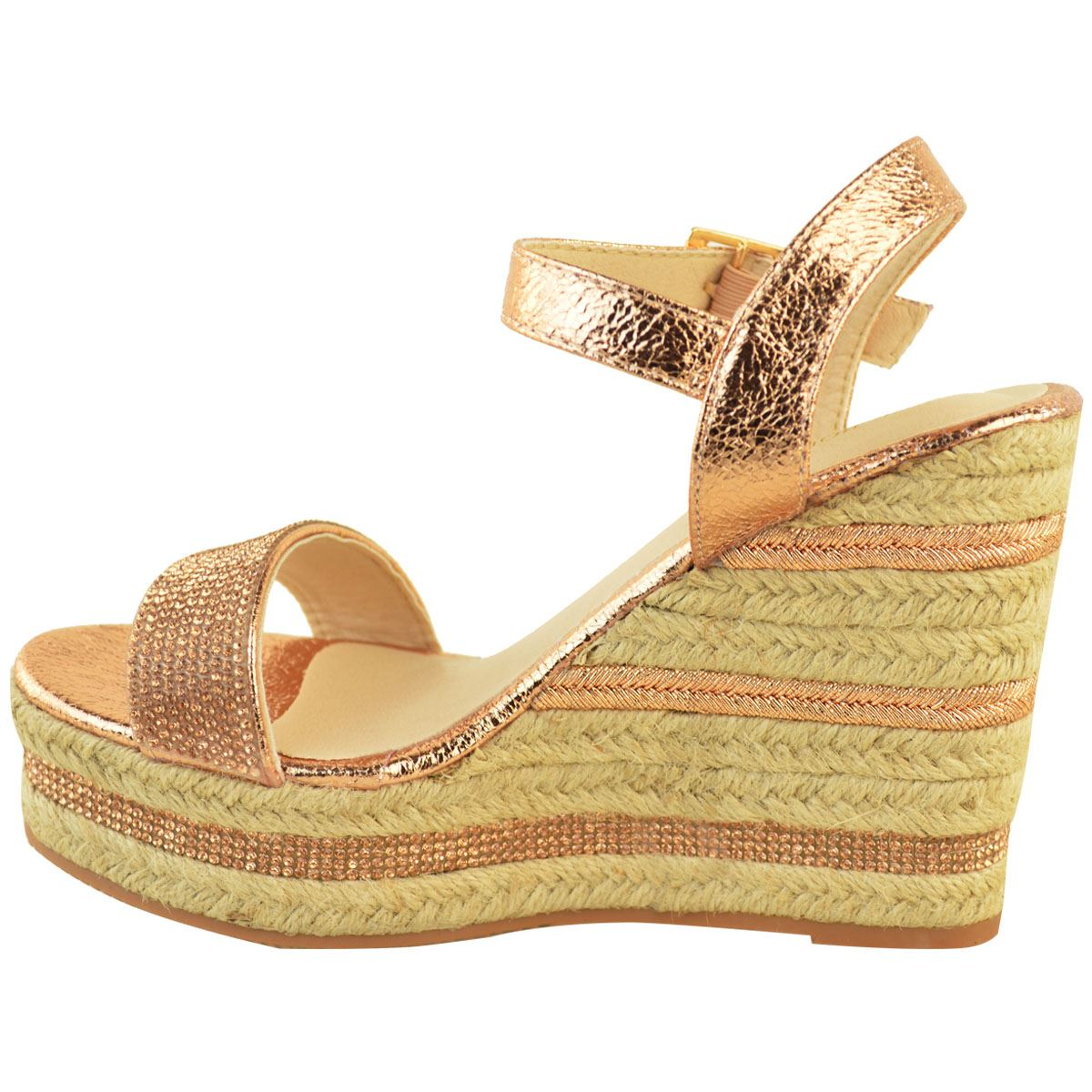 Womens-Ladies-Wedged-High-Heel-Sandals-Raffia-Diamante-Party-Shoes-Summer-Size thumbnail 10