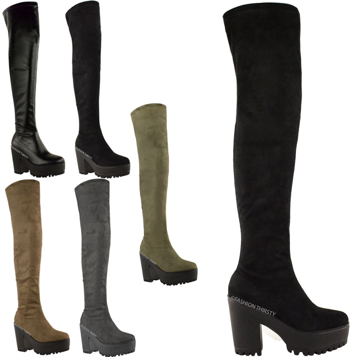 WOMENS LADIES OVER THE KNEE THIGH HIGH CHUNKY PLATFORM HEEL STRETCH SUEDE SEXY BOOTS