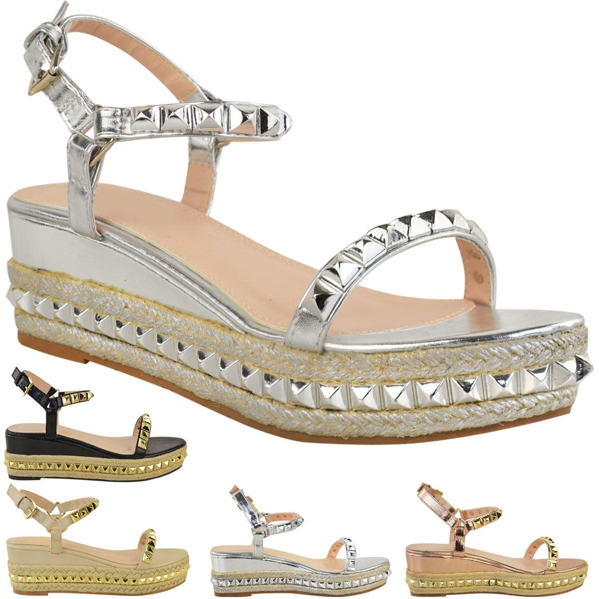 62c5b765d91 Ladies Womens Studded Low Wedge Espadrille Sandals Platform Rose ...