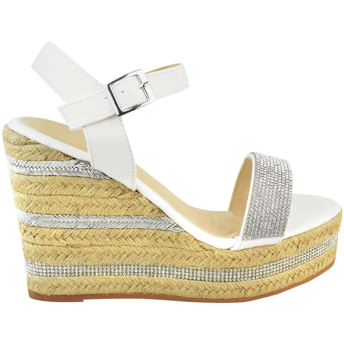 Womens-Ladies-Wedged-High-Heel-Sandals-Raffia-Diamante-Party-Shoes-Summer-Size thumbnail 14