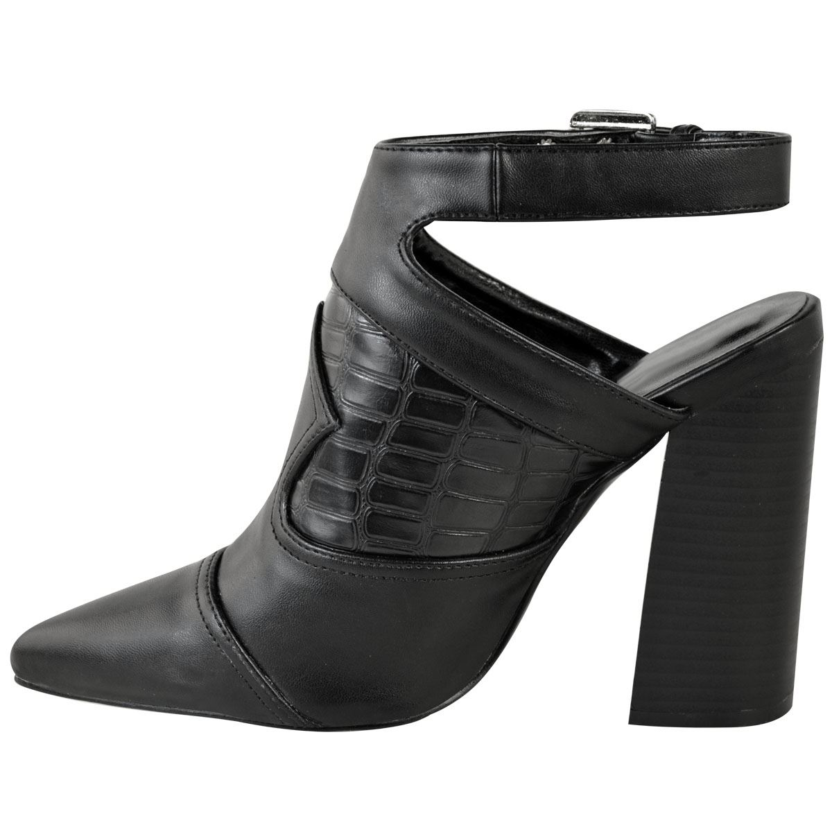 Womens Ladies Black Western Cut Out Shoes Ankle Boots High Block Heel Size New