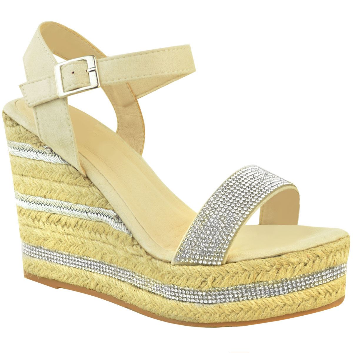 Womens-Ladies-Wedged-High-Heel-Sandals-Raffia-Diamante-Party-Shoes-Summer-Size thumbnail 3